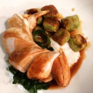 Roast Cotswold Chicken, Wild Garlic Gnocchi, Buttered Spring Greens & Chicken Jus