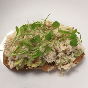 Crab on toast with guacamole & coriander Sam Collins Summer 2015